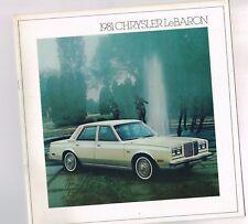 1981 CHRYSLER LEBARON Catálogo / CATALOG con color chart : especial,Station