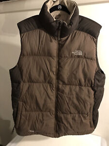 THE NORTH FACE 550 PUFFER VEST LARGE BROWN MENS GOOSE DOWN PUFFY