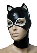 Sexy Black Latex Hood Rubber Mask with Small Ear Gummi 0.4mm for Catsuit Wear