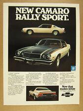 1975 Chevrolet Camaro Rally Sport black & white car photo vintage print Ad