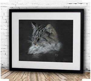 Pet portrait - Framed realism tinted charcoal portrait