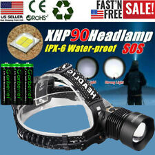 990000LM XHP90 LED Headlamp Zoom USB Rechargeable 18650 Headlight Powerful Torch