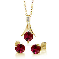 3.05 Ct Red Created Ruby White Diamond 18K Yellow Gold Plated Silver Jewelry Set