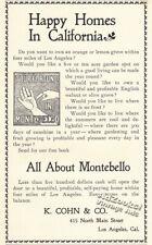 1900 Montebello California Real Estate Kaspare Cohn Print Ad – Palm Reading Pix!