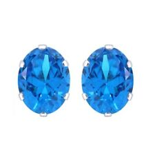 Basket Oval Blue Topaz Stud Earrings 14K White Gold Rhodium Plated 5X3mm