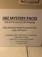 Baseball Card Mystery Packs (10 ROOKIES, 5 #'d, 1 AUTO, 1 RELIC, 2 VINTAGE PACK)