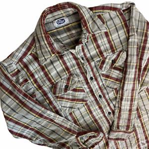 Vintage 70s Mr. Leggs Plaid Flannel Button Down Shirt Medium USA Grunge Gray Red