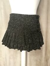 Topshop grey wool short mini pleated a line winter button down skirt size 10