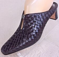 BRIGHTON Women 7 N TYNAN Mule Dark Brown Leather Weave Block Heel Pump Shoe EUC