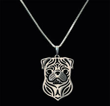 Cute Pug Dog Canine Collection Silver Tone Metal Pendant Necklace