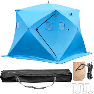 Ice Shelter Fishing Tent 4-person Waterproof Pop-up Shanty w Window Carrying Bag