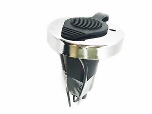 Pactrade Black Rubber Cap 2-Prong Stern Light Pole Base SS304 Top Socket Plug-In