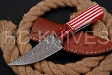 8 inch HD Custom fixed blade Damascus steel full tang Hunter skinner knife 135