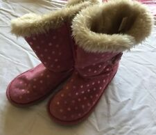 Girls Pink suede, fur lined boots - Size 12 (UK)
