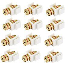 12x Banana Plug/Spade/Bare Wire Keystone Jack Screw for Wall Plate White/Red
