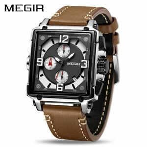 MEGIR Creative Men Watch Luxury Chronograph Quartz Watches Leather Sport