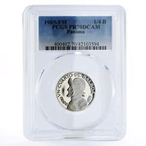 Panama 1/4 balboa Explorer Vasco Nunez de Balboa PR70 PCGS CuNi coin 1985