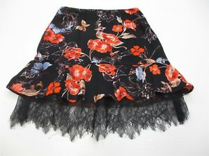 new WHO WHAT WEAR Women's Size 2 Flounced Floral Print Black/Red Skirt