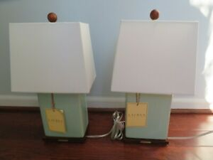 NWT Pair of RALPH LAUREN Celadon Crackle Porcelain LAMP + WHITE SHADE