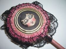 Mae West ANTIQUE POWDER PUFF ON STICK with BLACK LACE TRIM and PINK SATIN