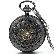 Mechanical Steampunk Vintage Hand Winding Skeleton Heart Cobweb Pocket Fob Watch