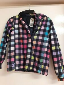 Ladies Rainbow Check Roxy Coat Ski Jacket 12