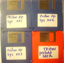 Korg TRITON OPERATING SYSTEM discs+Triton PRELOAD Data FLOPPY discs 4 disc set