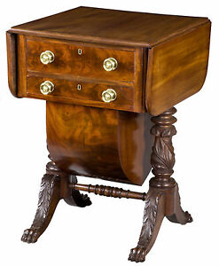 SWC-Classical Carved Mahogany 2-Drawer Sewing Stand, New York, NY, c.1820