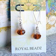 Wire Drop BoHo Style Earrings Topaz Crystal Silver Filigree Beads Kidney