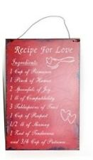 Recipe For Love Distressed Look Plaque Hanging Wall Sign