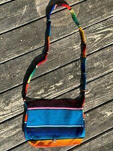 Mexican Serape Sarape Messenger Bag Rainbow Button CrossBody 16x10x3 001