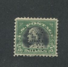1918 US $5 Postage Stamp #524 Used Very Fine PERFIN 2-15 Canceled