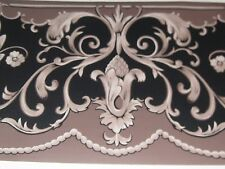 Wallpaper Border Victorian Scroll Swirl Leaf Tassel Taupe Brown Black EH00195