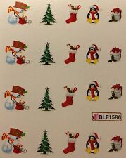 Nail Art Water Decals Christmas Tree Snowman Penguin Stockings Holidays BLE1586