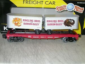K-Line by Lionel O Ringling Bros Flat Car with 2 Trailers 6-21472 LN