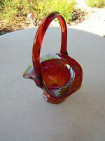 Antique Red Carnival Glass Basket