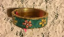 NWT AUTH BETSEY JOHNSON HINGE BRACELET TURQ WITH FLOWERS ON ONE SIDE
