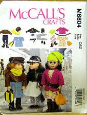 """MCCALLS PATTERN 6804  DRESS JACKET BAG BELT BOOTS 18"""" DOLL CLOTHES UN-CUT"""