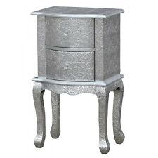 Pair Of Silver Embossed 2 Drawer Bedside Table Cabinet  Floral print