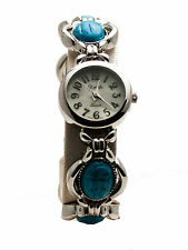 XANADU:ANTIQUE LOOK SILVER FINISH TURQUOISE STONES ANALOG  METAL BAND WATCH
