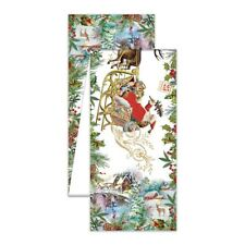 "Michel Design Works Christmas Joy Santa Sleigh Reindeer 60"" Cotton Table Runner"
