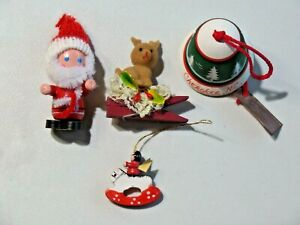 Vintage Lot of 4 Christmas Tree Ornaments Cutesy Homemade Souvenir N.C. Misc.