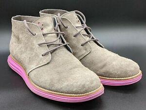 Cole Haan Lunargrand Chukka Boot Grey Suede Pink Sole Mens Size 8