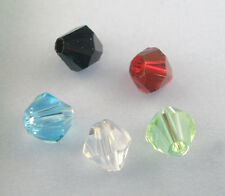 200 ASSORTED BICONE FACETED CRYSTAL QUARTZ BEADS 5301~4mm~Wine Glass Charms(13J)