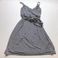 Tart Sz L Black White Stripe Print Faux Wrap Sleeveless Dress A415
