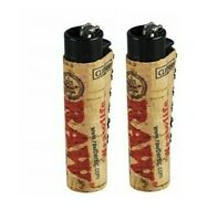 2 Ct CLIPPER Flint Lighters Refillable RAW ECO CORK COVER HAND SEWN Design