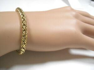 "Rare TIFFANY & Co 14K Gold Russian Braid Wheat Weave Bracelet 7"" Suede Box"