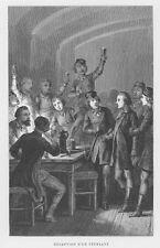 Studentika, Empfang eines Studernten, Original-Holzstich von 1865