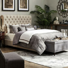 Royal London Chesterfield Style Fabric Sleigh Bed Frame 4 ft 6 (Double size)