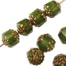 Olive Green Faceted 8mm Crown Cathedral Beads Czech Glass (12 Pieces)